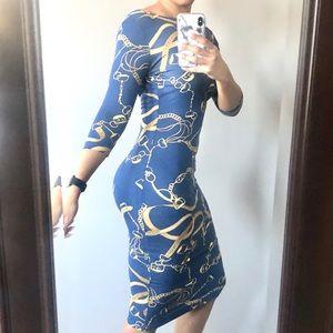 ASOS Blue Chain Print Midi Dress